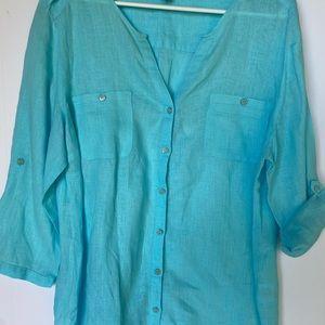 JM Collection Women's Tunic Size 16 100% Linen😍😍